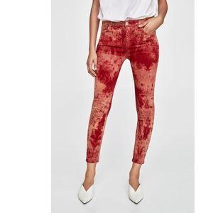 bef2ada6fdcd Zara Jeans - NWT Zara Red Tie Dye Skinny Jeans Size 28 (6)